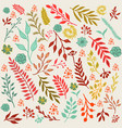 autumn floral background with leaves and branches vector image
