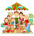 Picnic family vector image