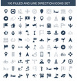 100 direction icons vector image vector image