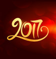 2017 new year lettering in gold color on red vector image vector image