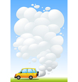A yellow van emitting smoke vector image vector image