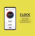 alarm clock stopwatch timer ui mobile phone vector image