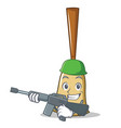 army broom character cartoon style vector image vector image