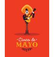cinco de mayo card mariachi man with guitar vector image vector image
