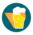 corn chip hugs a glass of cold beer with foam icon vector image