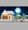 cute snowman standing next to home in the night vector image