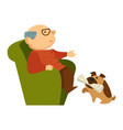 dog fetching a newspaper for grandpa sitting in vector image