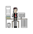 european businessman talking on phone at office vector image