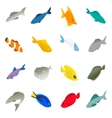 Fish icons set isometric 3d style vector image vector image