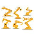 flat robot arm welding at factory line set modern vector image vector image
