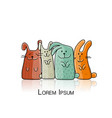 funny rabbits family for your design vector image vector image