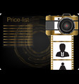 gold camera on a black background vector image vector image
