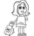 grade school girl coloring page vector image vector image