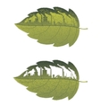 Green leaf with factory building vector image