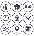 H2O Water drop icons Tear or Oil symbols vector image vector image