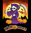 halloween scenery with sign 4 vector image
