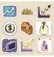 Hand drawn finance emblems set Isolated