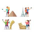 happy couples make selfie near landmarks vector image vector image