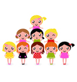 Happy little girls group isolated on white vector image