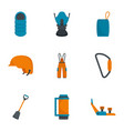hiking mountain icon set flat style vector image