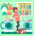 housewife in the laundry room vector image vector image