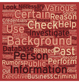 How To Perform A Background Check text background vector image vector image