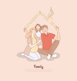 husband pregnant wife and daughter father vector image