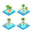 island vacation isometric set vector image