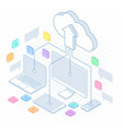 isometric cloud computing concept in outline vector image vector image