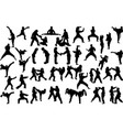 karate silhouettes set vector image