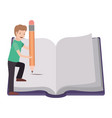 man with text book and pencil avatar character vector image vector image