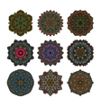 Mandala pattern flower set vector image