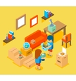 Moving into new apartment Isometric 3d vector image