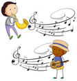 musicians playing music with notes in background vector image vector image
