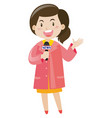 news reporter with microphone vector image