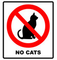 no catsprohibiting sign location or entry pets vector image vector image