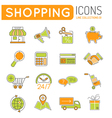 Online Shopping Thin Lines Color Web Icon Set vector image vector image