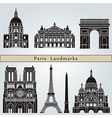 Paris landmarks and monuments vector image