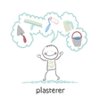 plasterer thinks about his instruments for vector image vector image