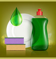 plastic bottle with soap for washing utensils vector image