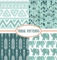 Set of tribal striped seamless pattern Geometric vector image vector image
