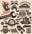 set vintage car symbols and logo designs vector image