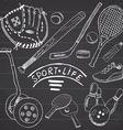 sport sketch doodles elements hand drawn set vector image