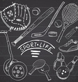Sport sketch doodles elements Hand drawn set with vector image vector image