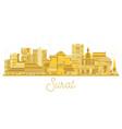 surat india city skyline golden silhouette vector image vector image