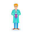 the doctor in the hospital with documents in hand vector image
