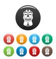 tiki idol hawaii icons set color vector image