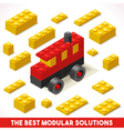 Toy Block Bus Games Isometric vector image