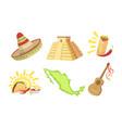 traditional cultural mexico symbols set sombrero vector image vector image