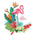 tropical decoration with flamingoes and trop vector image vector image